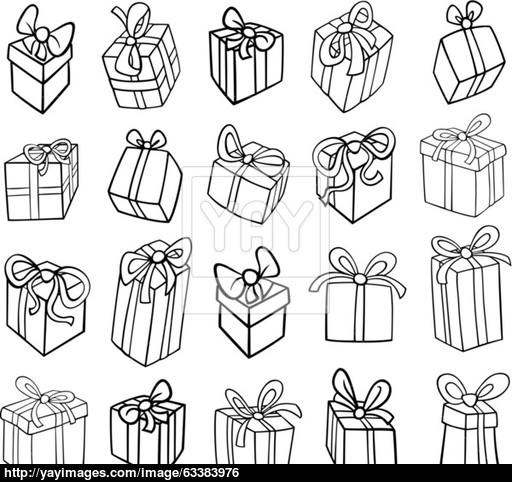 512x482 Christmas Or Birthday Gifts Coloring Page Vector