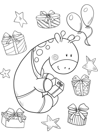 339x480 Baby Giraffe With A Present On His Birthday Coloring Page Free
