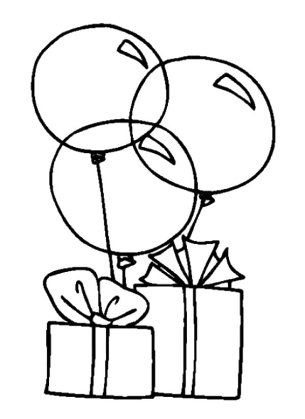 600x825 Balloons Tied To Birthday Present Coloring Pages Best Place To Color