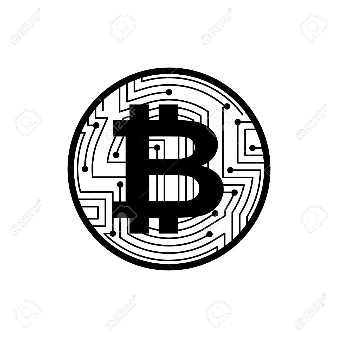 1300x1300 Bitcoin Coin Isolated. Crypto Currency Symbol. Virtual Money