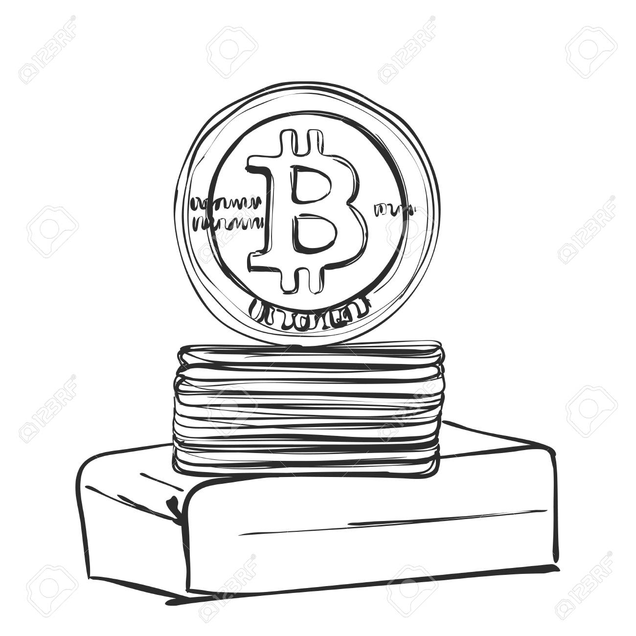 1300x1300 Bitcoin Hand Drawn Sketch. Cryptography Royalty Free Cliparts