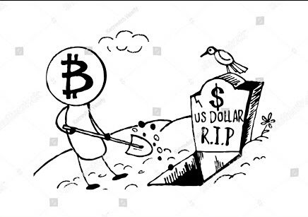 436x307 Doodle Style Bitcoin Bury The Us Dollar, Funny Cartoon Steemit