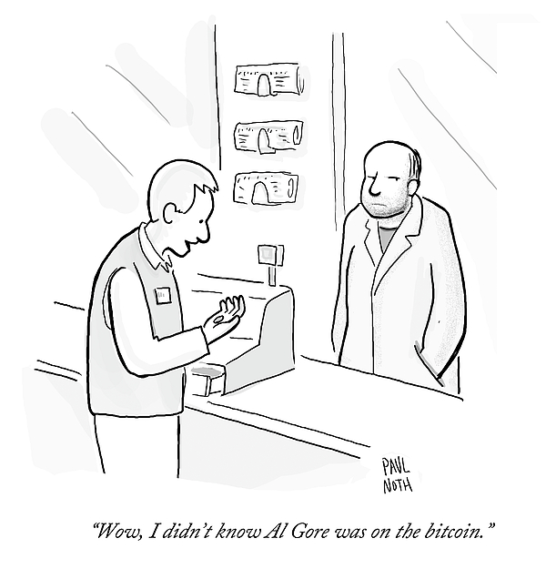 600x636 Al Gore On The Bitcoin Drawing By Paul Noth