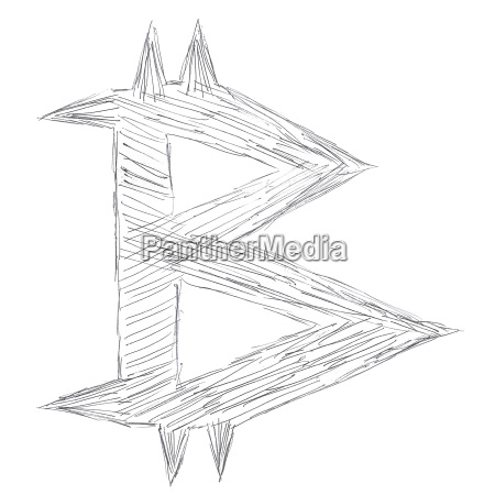450x450 Pointed Bitcoin Symbol Drawing