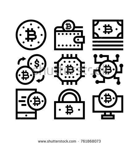 450x470 Bitcoin Mining Outline Icon Set Bitcoin Mining