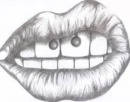 biting sketch tumblr lip drawing pictures www
