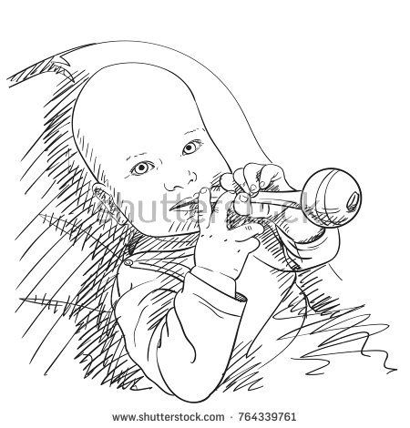 450x470 Sketch Of Baby Boy Ore Girl Chewing Toy, Hand Drawn Vector