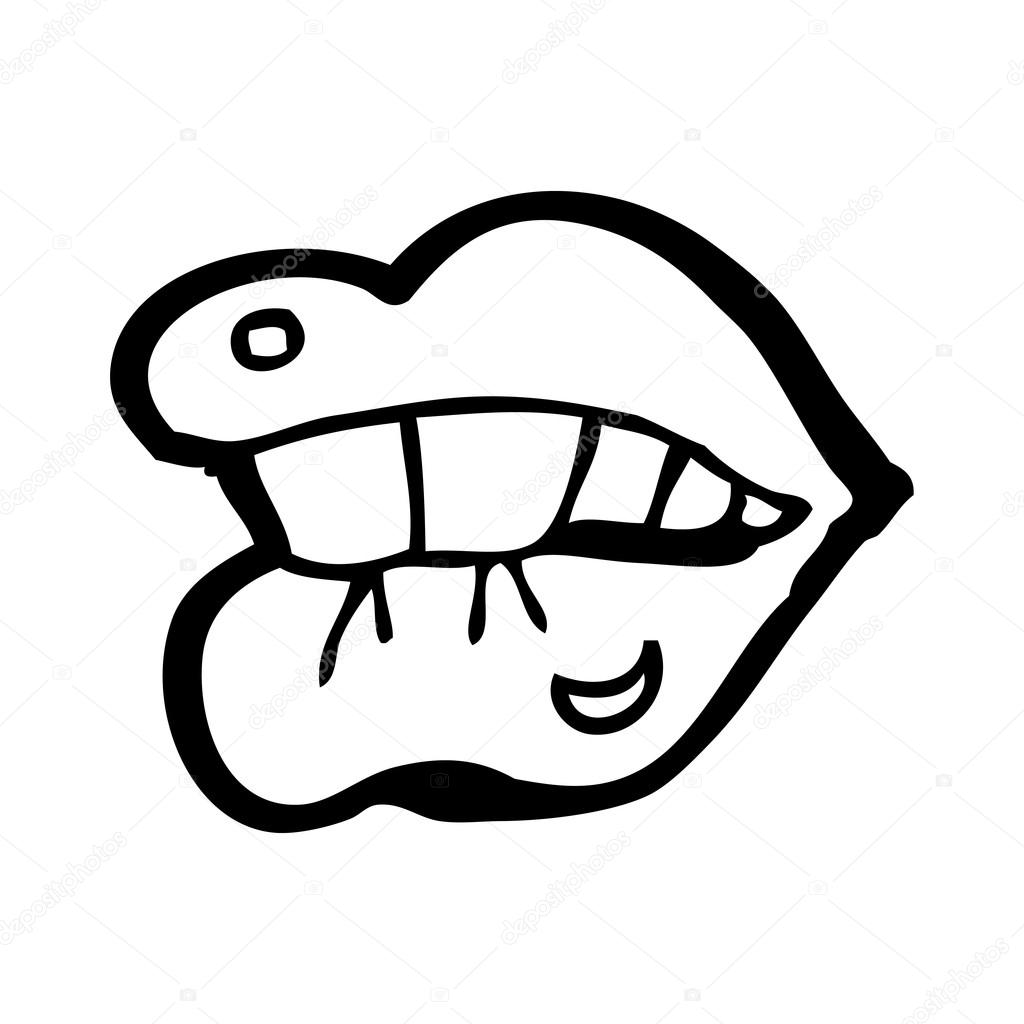 1024x1024 Biting Lip Cartoon Stock Vector Lineartestpilot