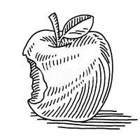 200x200 Apple Fruit Missing Bite Drawing Stock Vectors