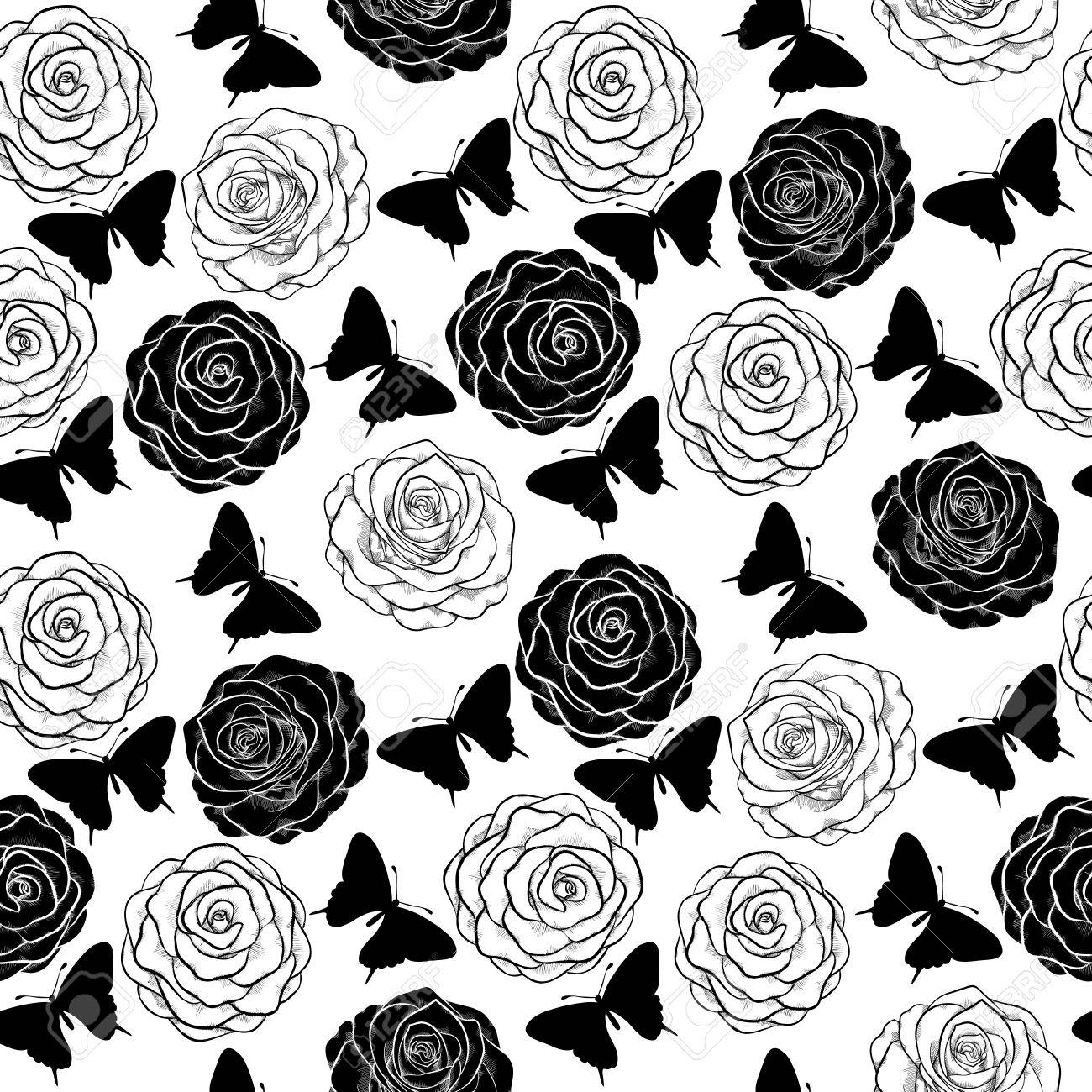1300x1300 Beautiful Seamless Background With Monochrome Black And White