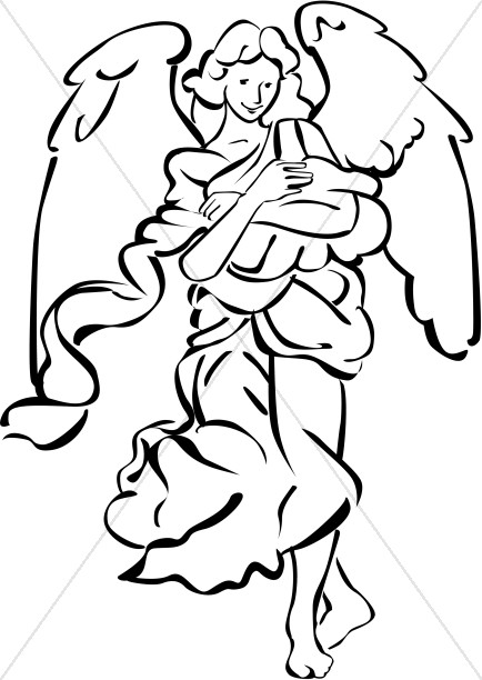 434x612 Nativity Angel In Black And White Nativity Clipart
