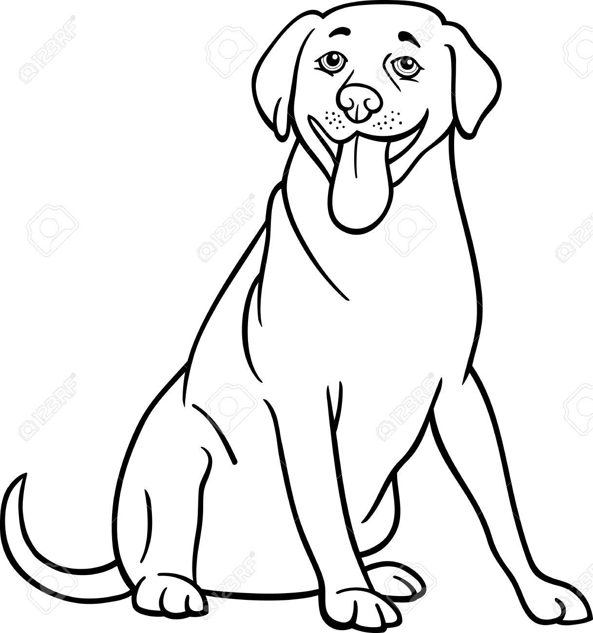 1217x1300 Black And White Cartoon Illustration Of Funny Labrador Retriever