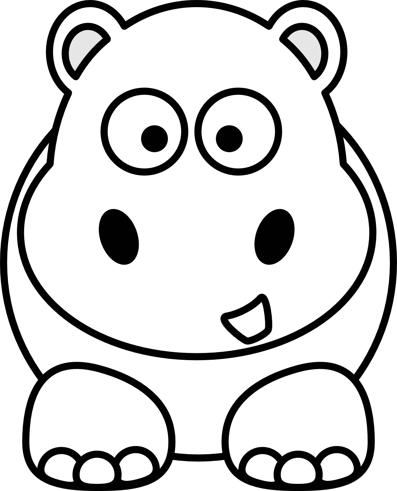 1331x1643 Clipart Animals Black And White Clipart Panda