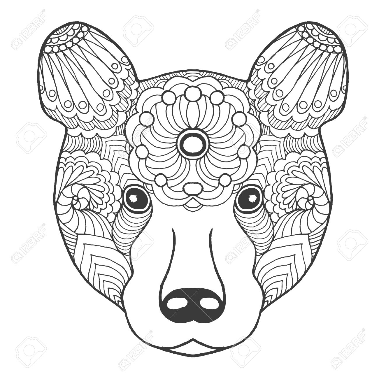 1300x1300 Cute Bear. Black White Hand Drawn Doodle Animal. Ethnic Patterned