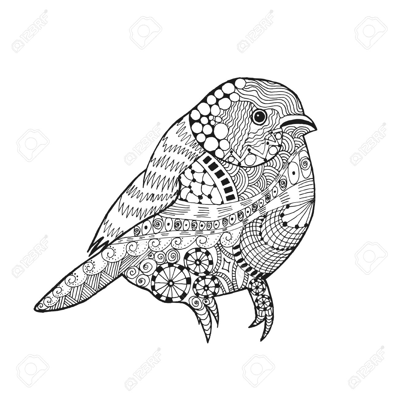 1300x1300 Zentangle Stylized Bird. Animals. Black White Hand Drawn Doodle
