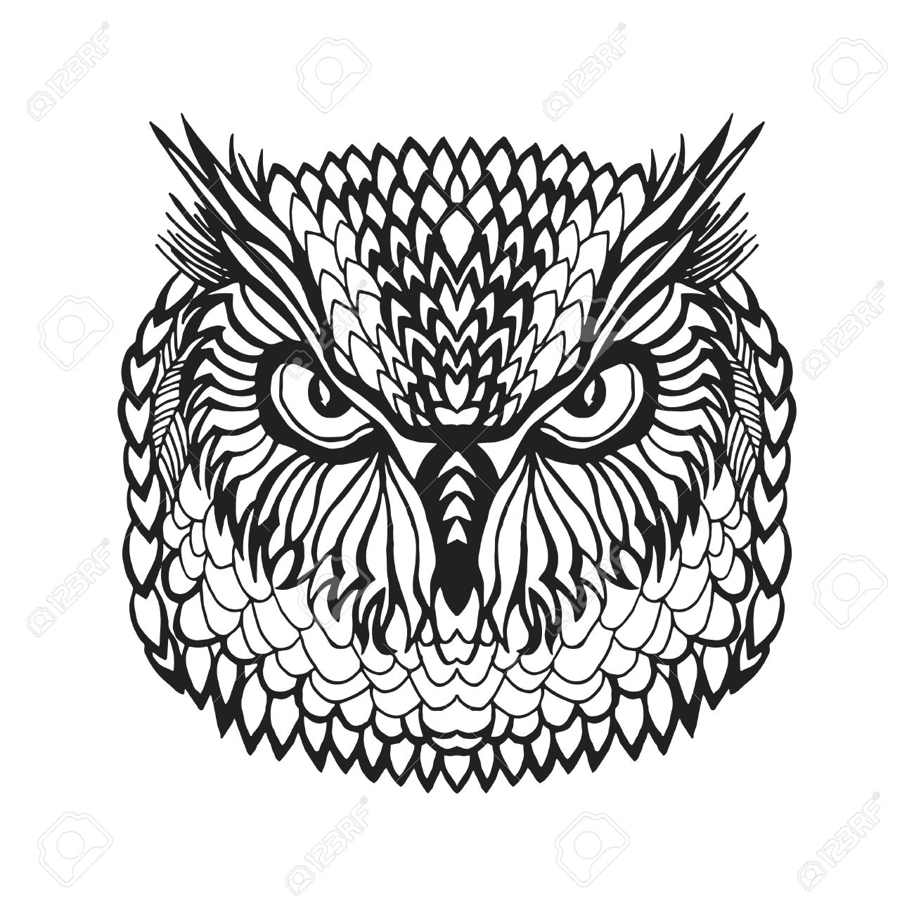 1300x1300 Zentangle Stylized Eagle Owl Head. Animals. Black White Hand Drawn