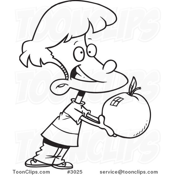 581x600 Cartoon Blacknd White Line Drawing Of School Boy Holding Out