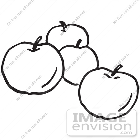 450x450 Clipart Of Apples In Black And White