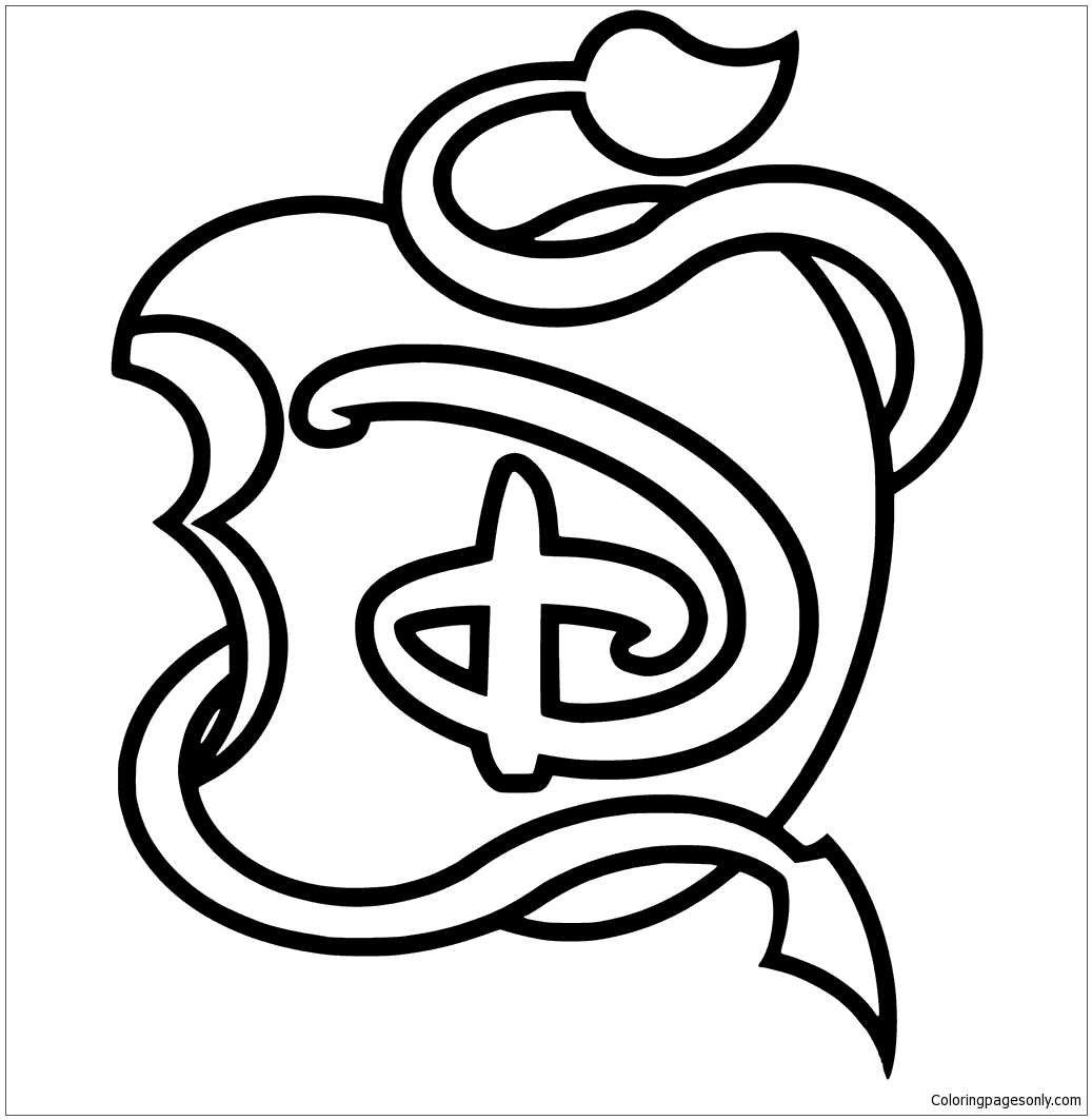 1037x1063 Disney Descendants Logo Apple Black And White Coloring Page