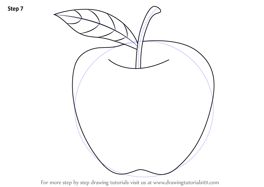 844x598 Learn How To Draw An Apple For Kids (Fruits) Step By Step