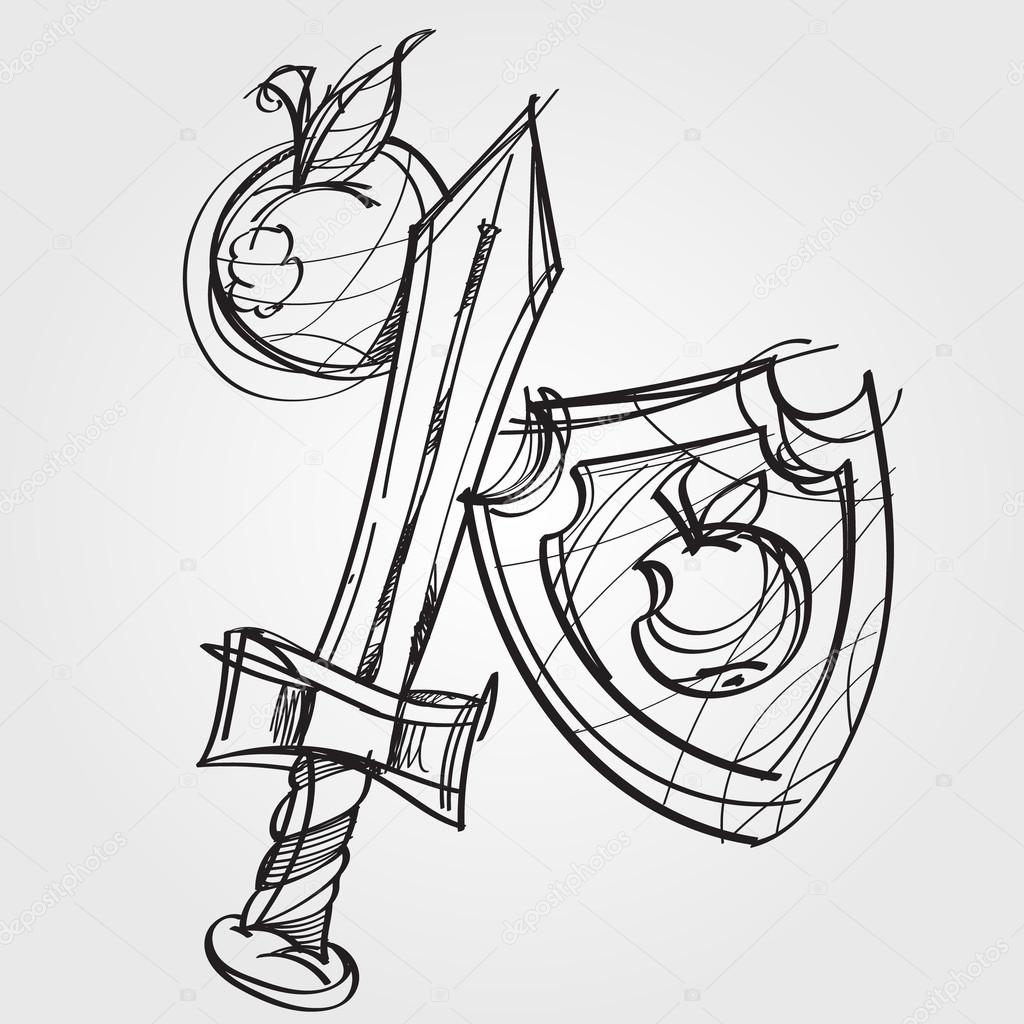 1024x1024 Shield, Sword, And An Apple. Black And White Sketch Of A Cartoon