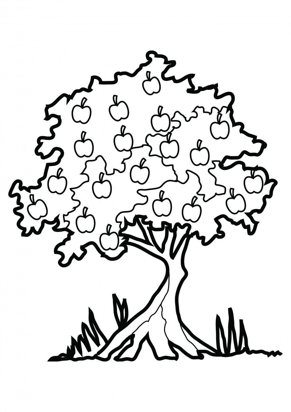940x1329 Small Fruit On The Tree Drawing How To Draw An Apple Tree