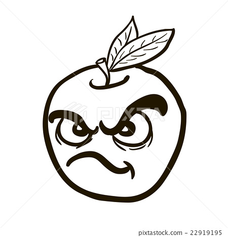 450x468 Black And White Freehand Drawn Angry Apple