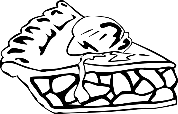 600x386 Apple Pie (B And W) Clip Art