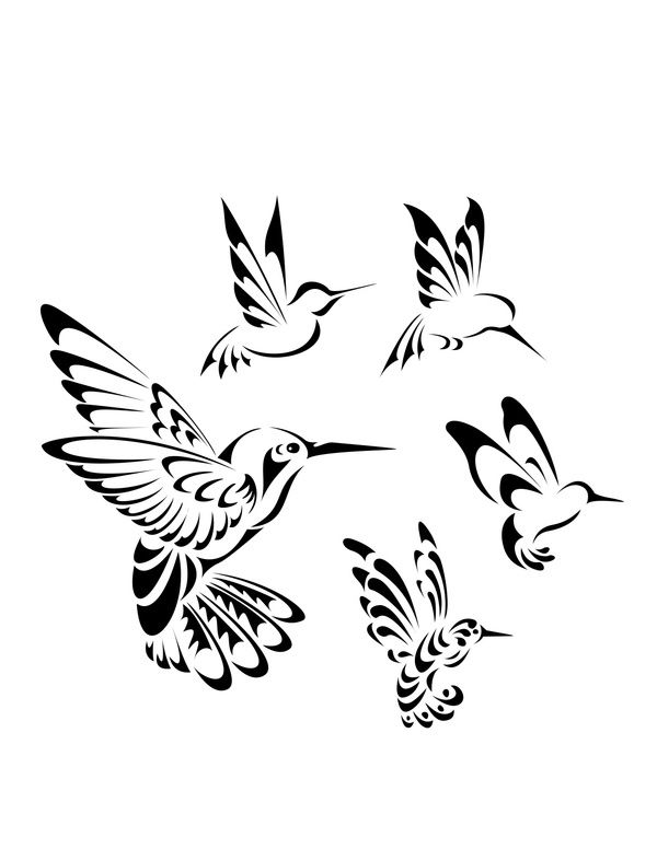 600x776 Collection Of Black White Birds Tattoo On Hip