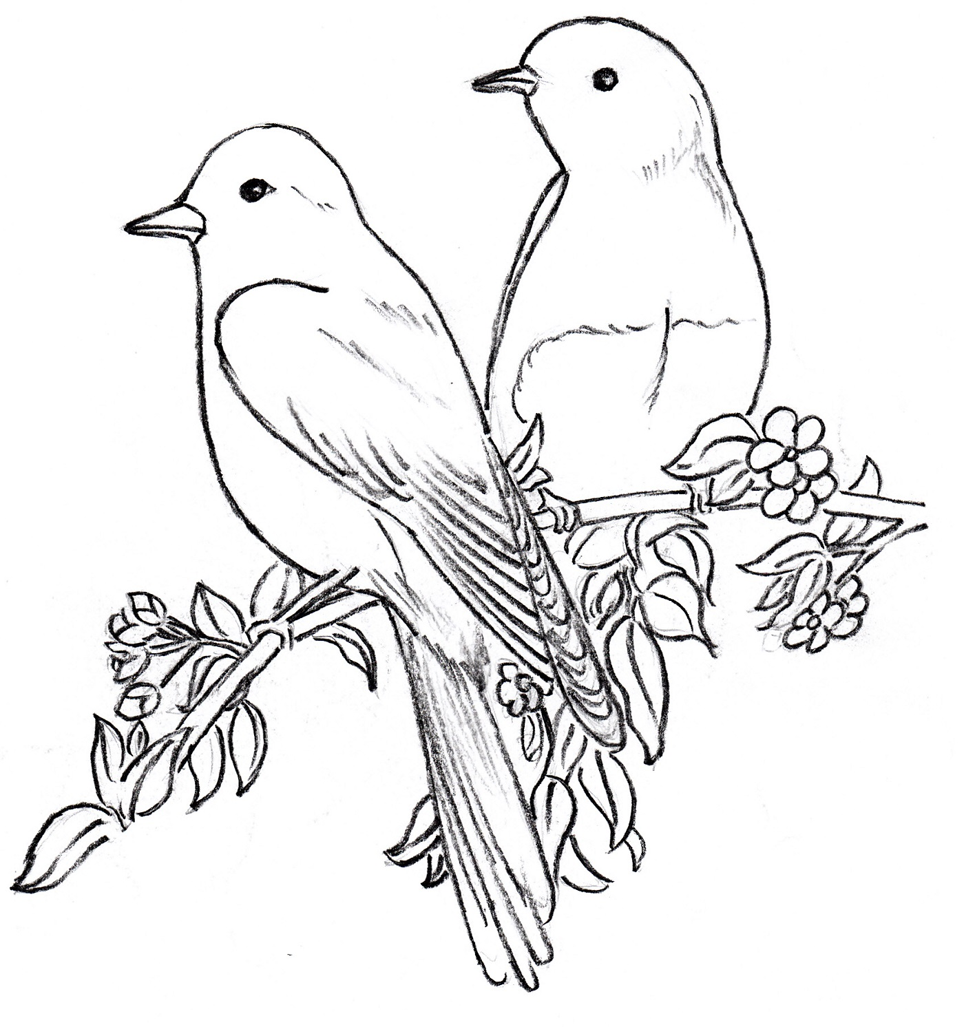 1400x1492 Two Birds Clipart Black And White