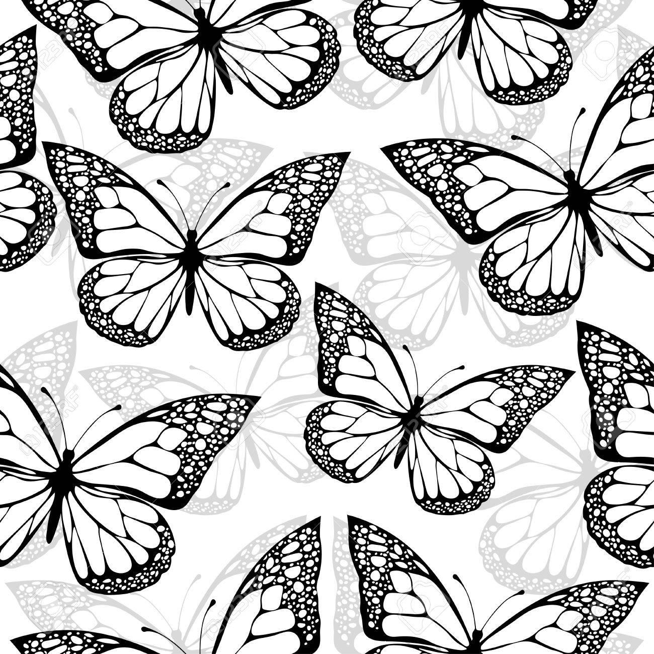 1300x1300 Butterflies Seamless Pattern, Monochrome, Coloring Book, Black