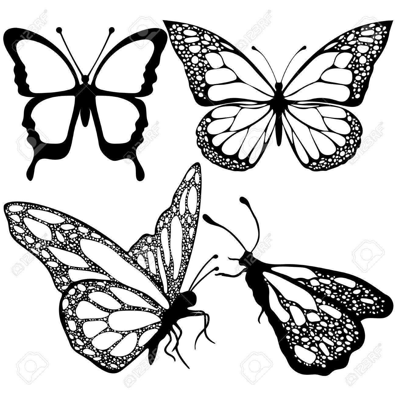 1300x1300 Butterflies Set, Monochrome, Coloring Book, Black And White