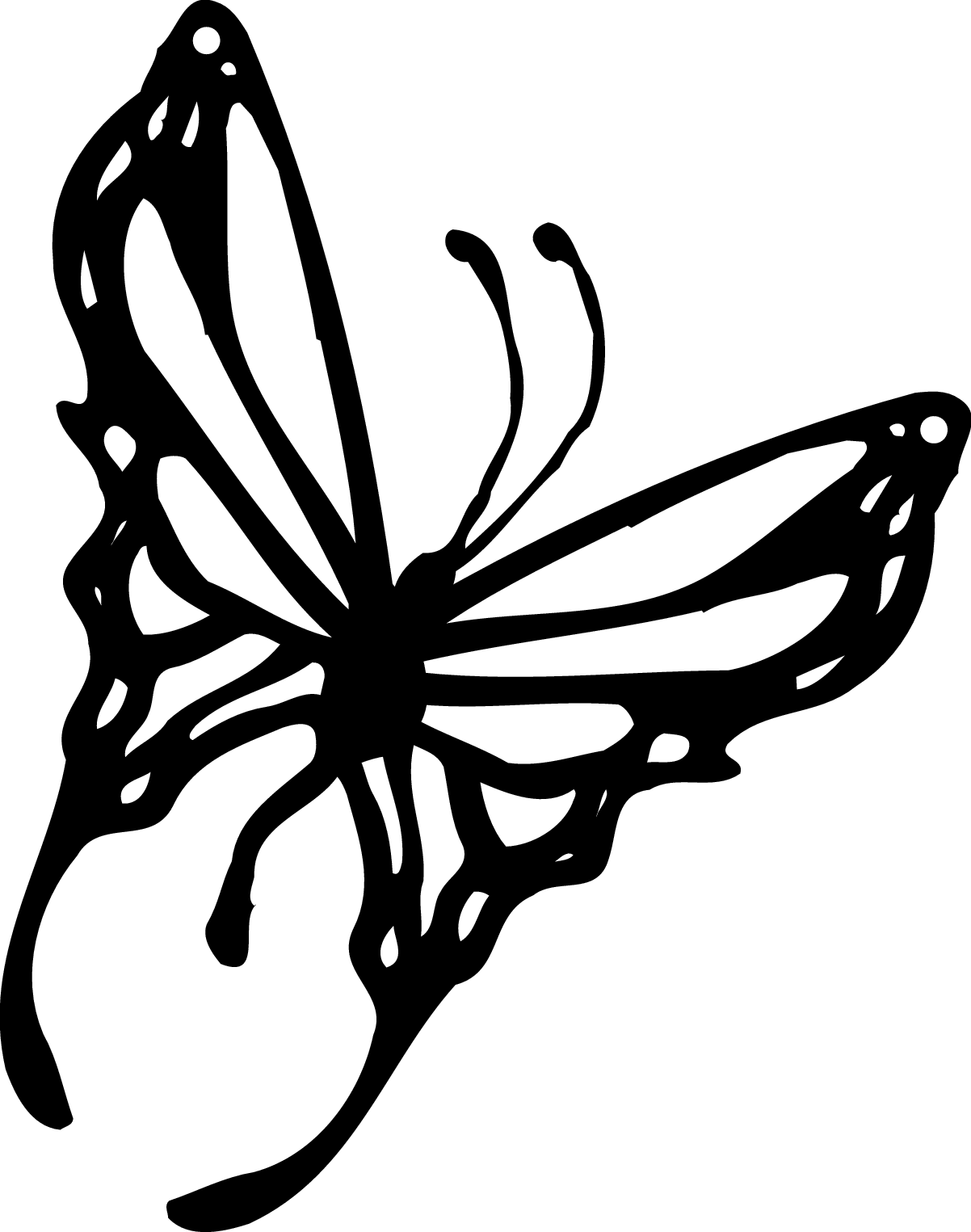 1202x1525 Butterfly Graphics Clipart Black White