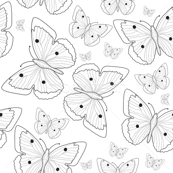 600x600 Butterfly Hand Drawing Seamless Pattern Sketch. Black And White