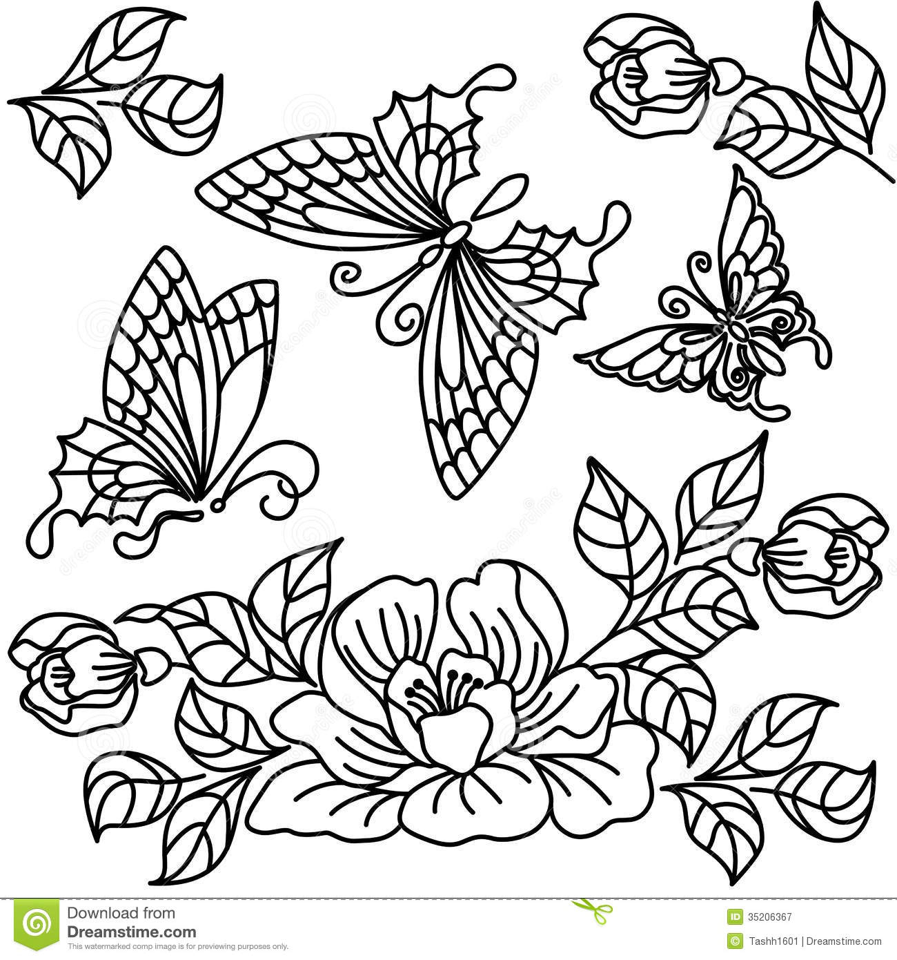 1300x1390 Flower Butterfly Black And White Drawing