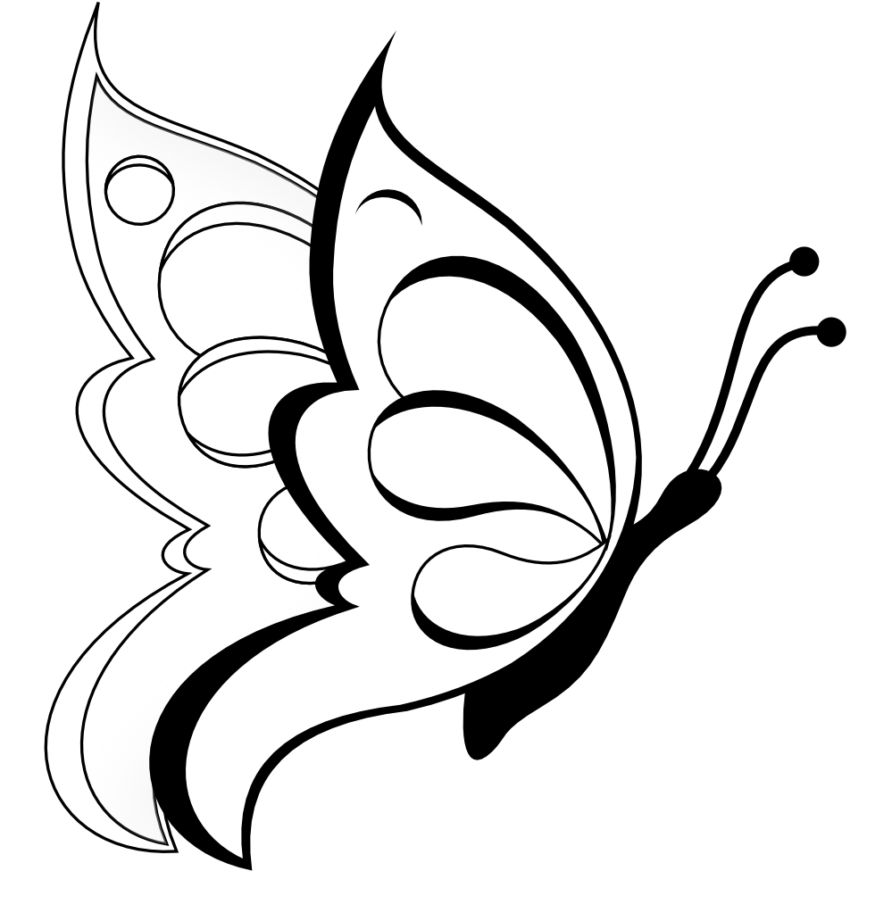 999x1032 Flower Clip Art Black And White Butterfly Coloring Page For Kids