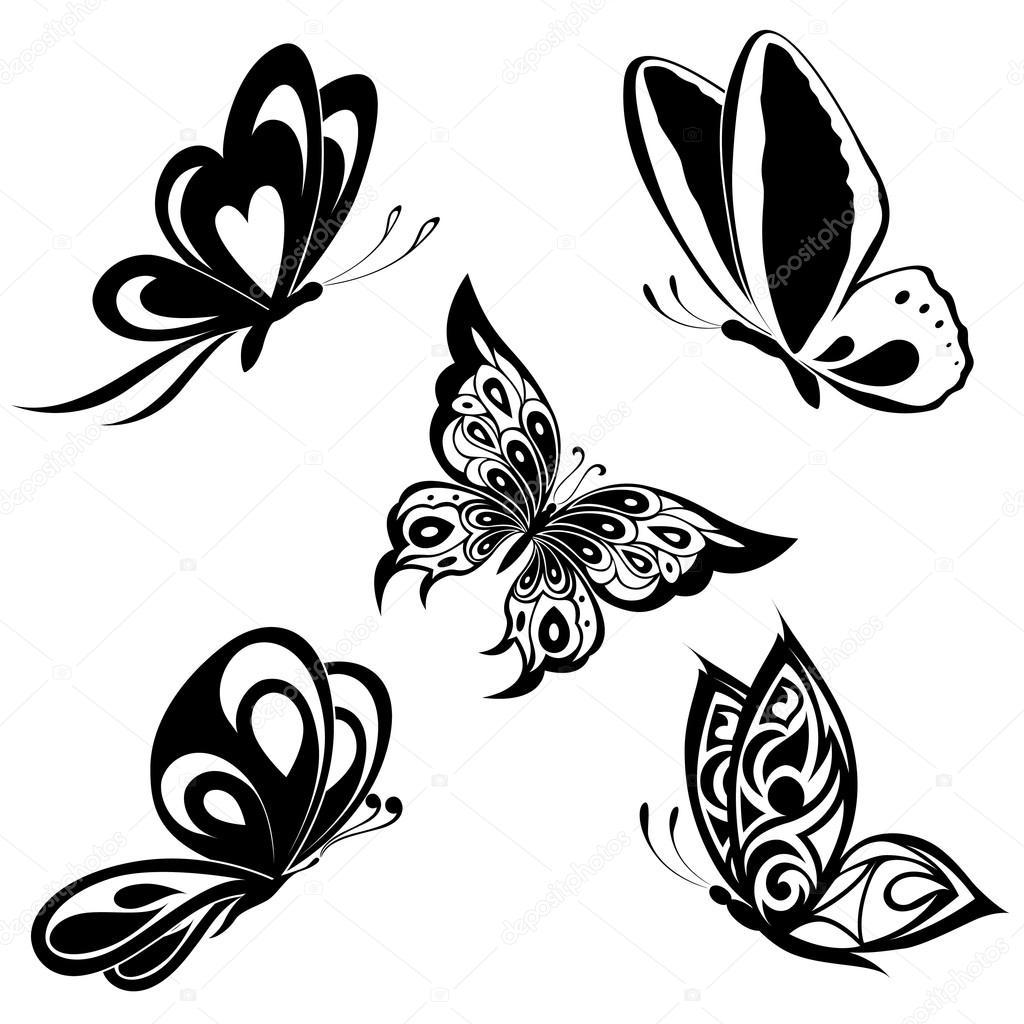 1024x1024 Set Black White Butterflies Of A Tattoo Stock Vector Maristep