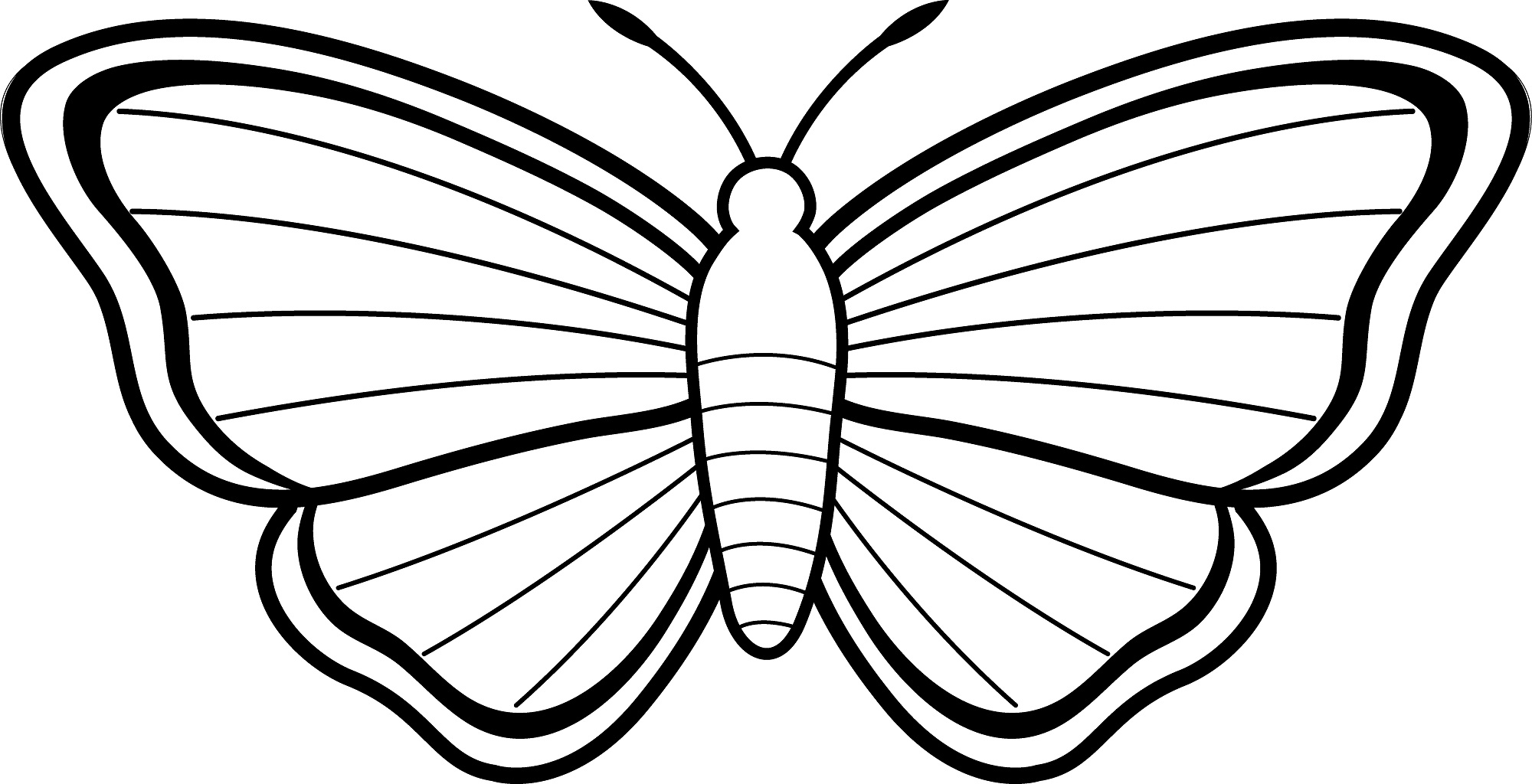 2000x1024 Simple Butterfly Coloring Pages