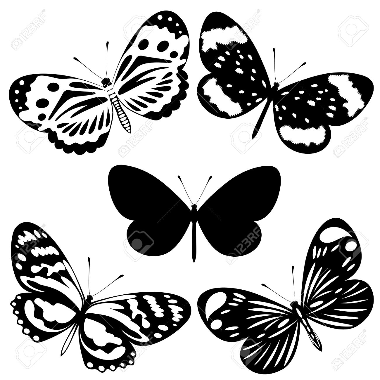 1300x1300 Dongetrabi Black And White Butterfly Drawing Images