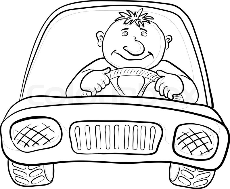 800x656 Cartoon, Car With A Man Driver, Contours On White Vector Stock