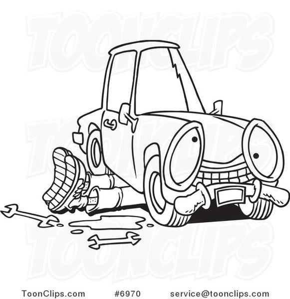 581x600 Cartoon Blacknd White Line Drawing Of Mechanic Working Under
