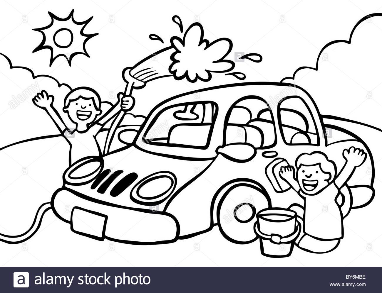 1300x999 Cartoon Image Of Two Kids Washing A Car
