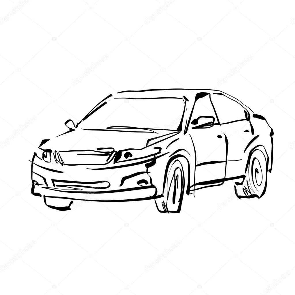 1024x1024 Monochrome Hand Drawn Car On White Background, Black And White I
