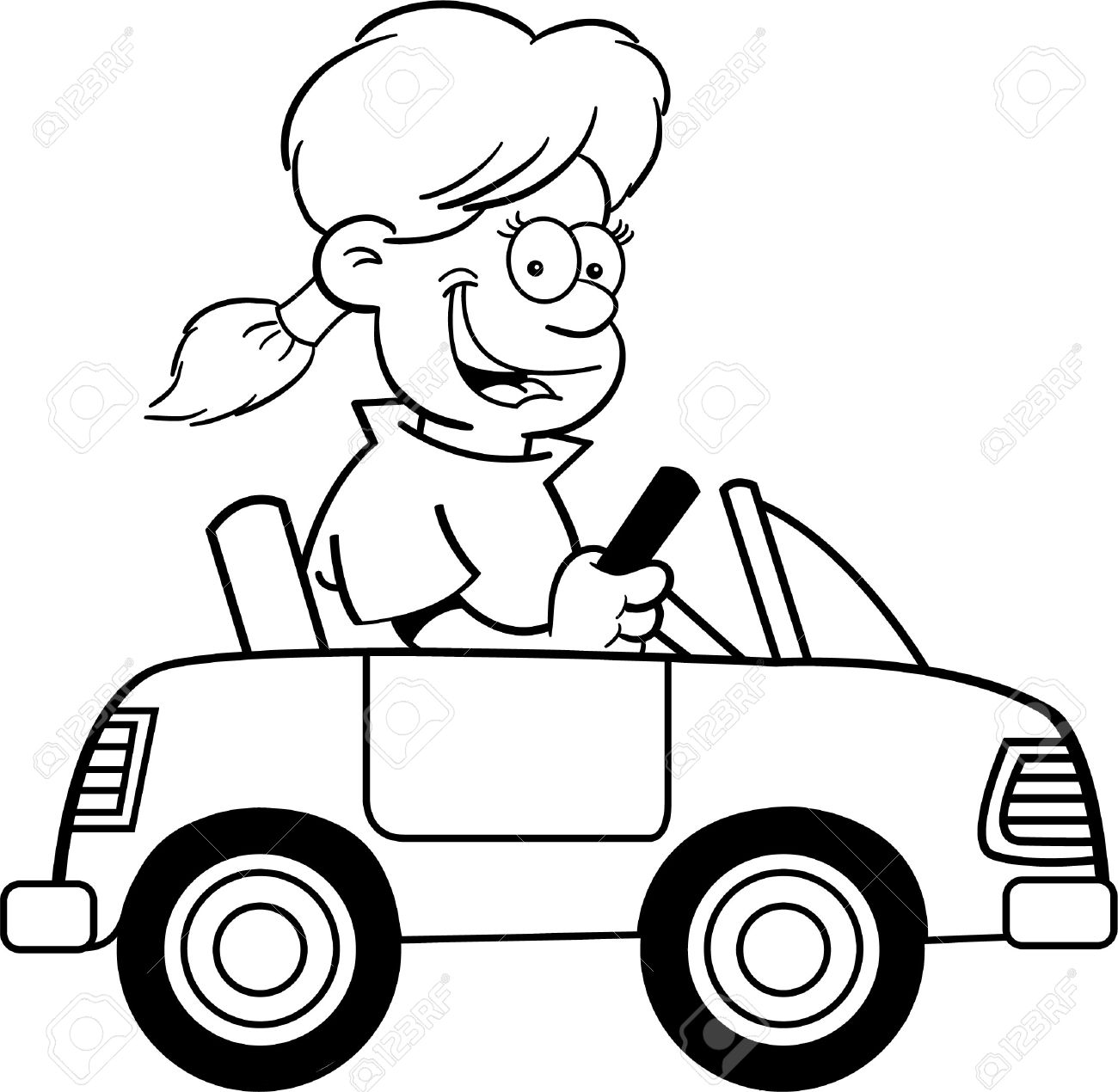 1300x1270 Black And White Illustration Of A Girl Driving A Toy Car Royalty