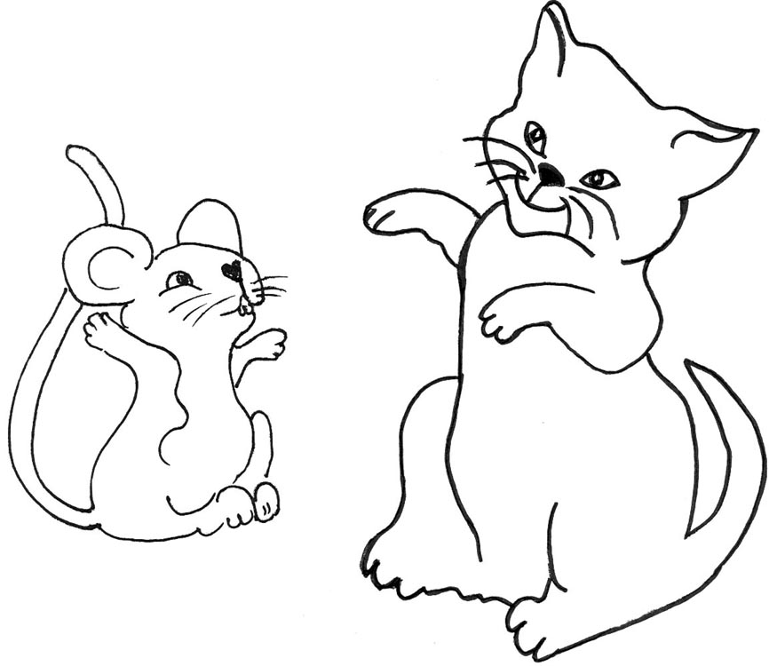 866x750 cat and mouse clipart