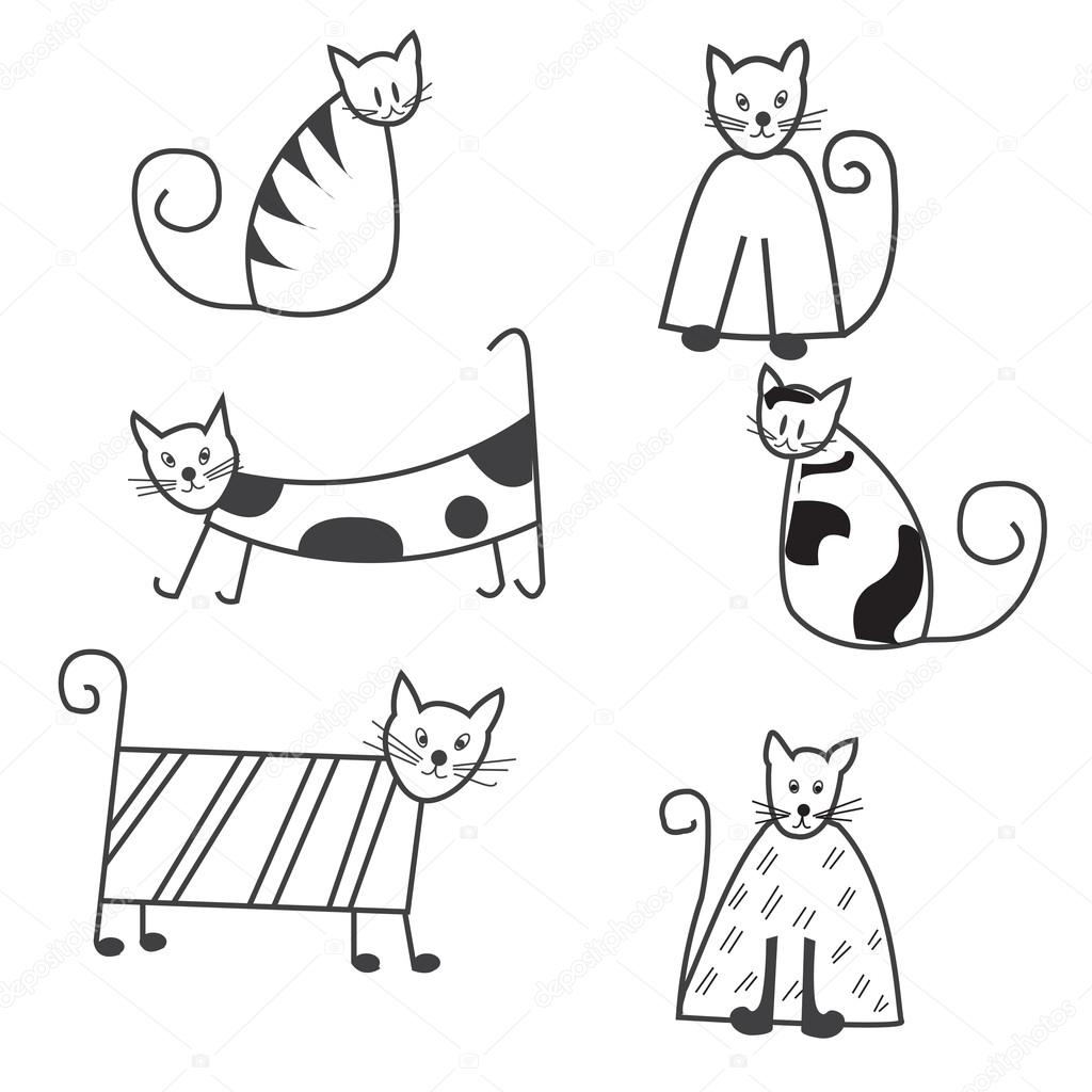 1024x1024 Funny Cats Sketch, A Set Of Cute Black And White Cats For Design
