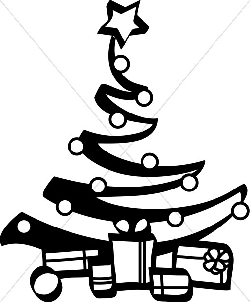 507x612 Black And White Artist Christmas Tree Religious Christmas Clipart