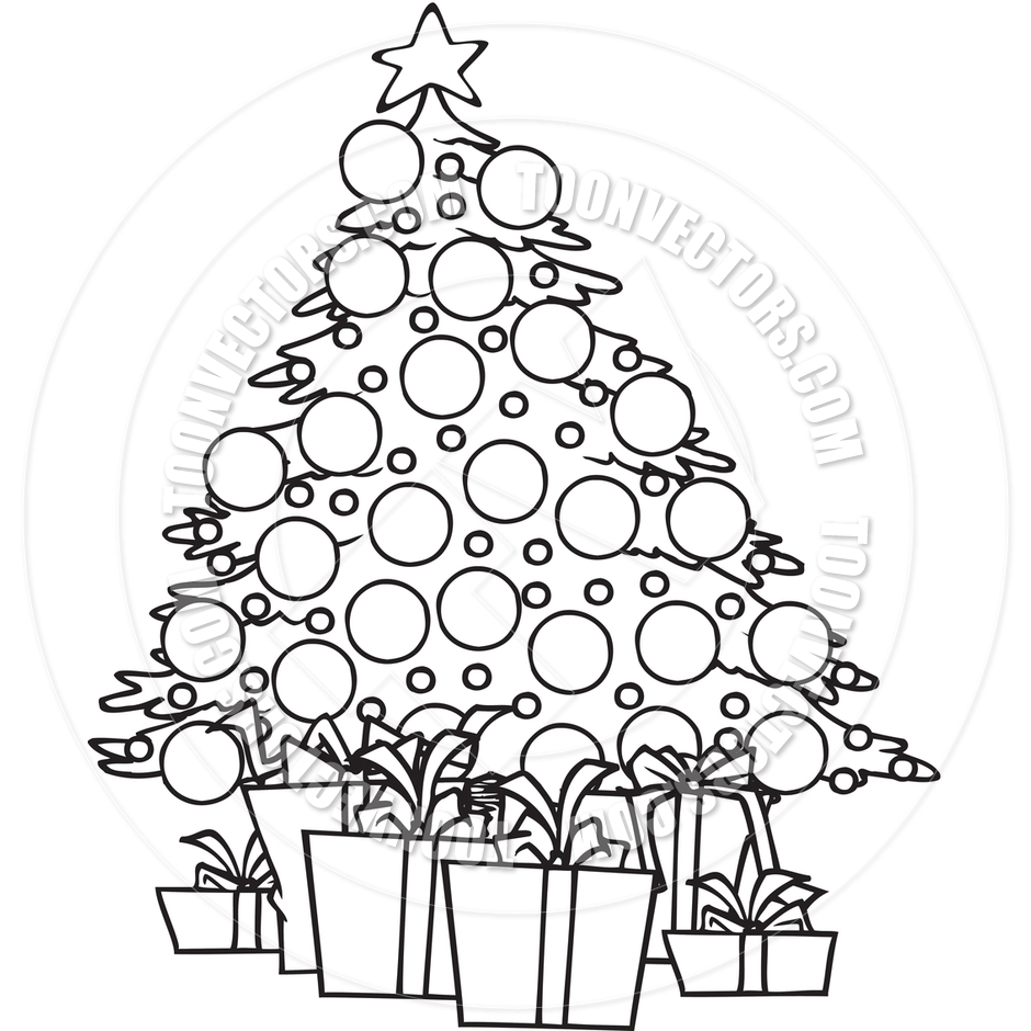 940x940 Cartoon Christmas Tree (Black And White Line Art) By Ron Leishman