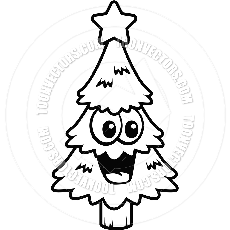 940x940 Christmas Tree Smiling (Black And White Line Art) By Cory Thoman