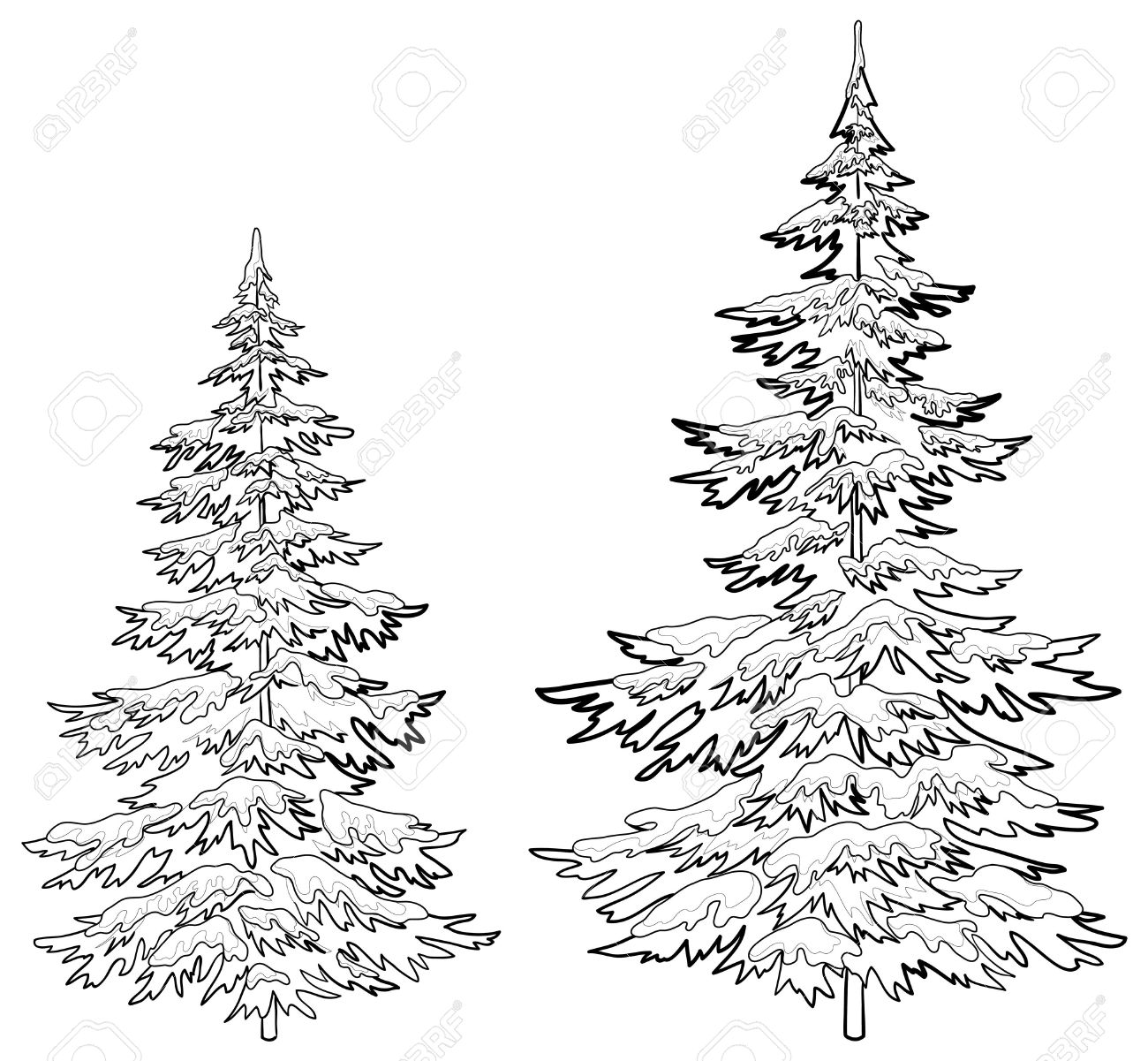 Black And White Christmas Tree Drawing at GetDrawings ...